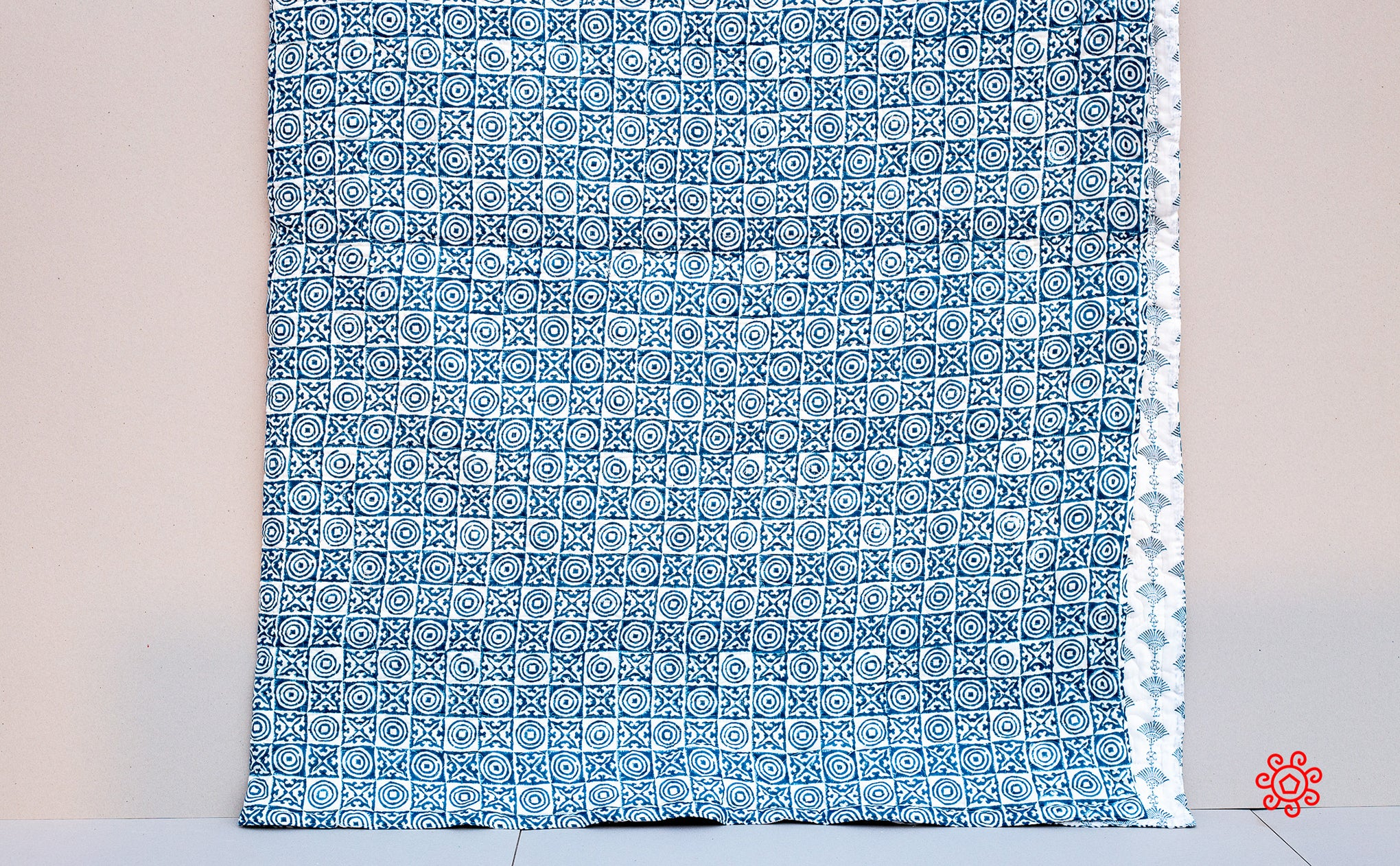 All Season Handmade Queen Quilt, Jaipuri Block printed, Natural Cotton Queen Bedspread, 100% Cotton Throw, Quilted Bedcover, Room Decor Blue