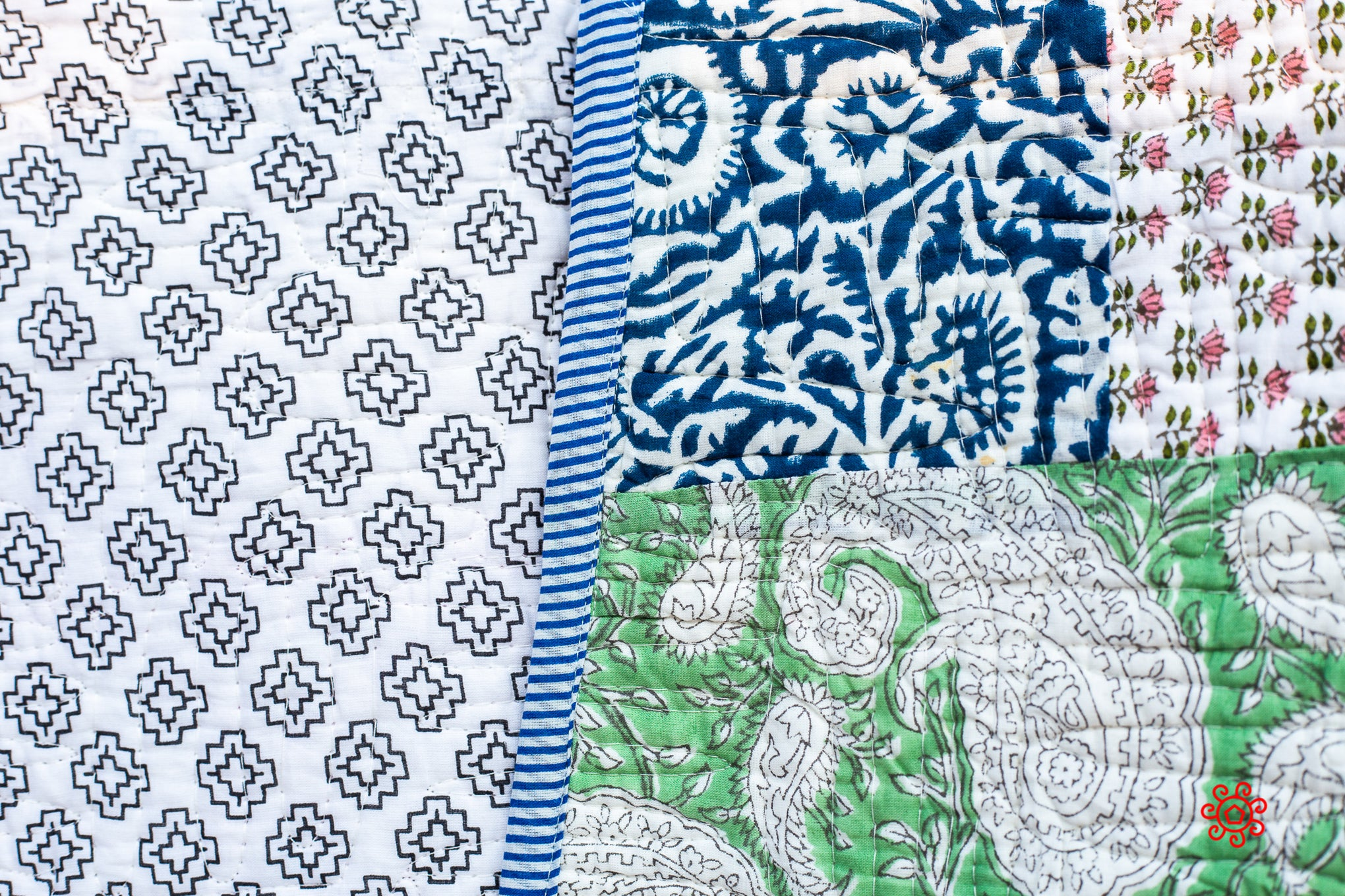All Season Handmade Queen Quilt, Jaipuri Block printed, Cotton, Queen Bedspread, Cotton Throw, Quilted Bedcover, Room Decor, Patchwork