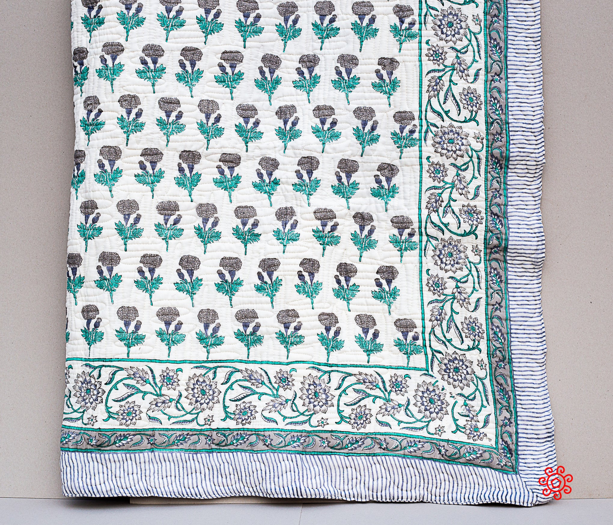 All Season Handmade Twin Quilt, Jaipuri Block printed, Cotton, Queen Bedspread, Cotton Throw, Quilted Bedcover, Room Decor, Gray