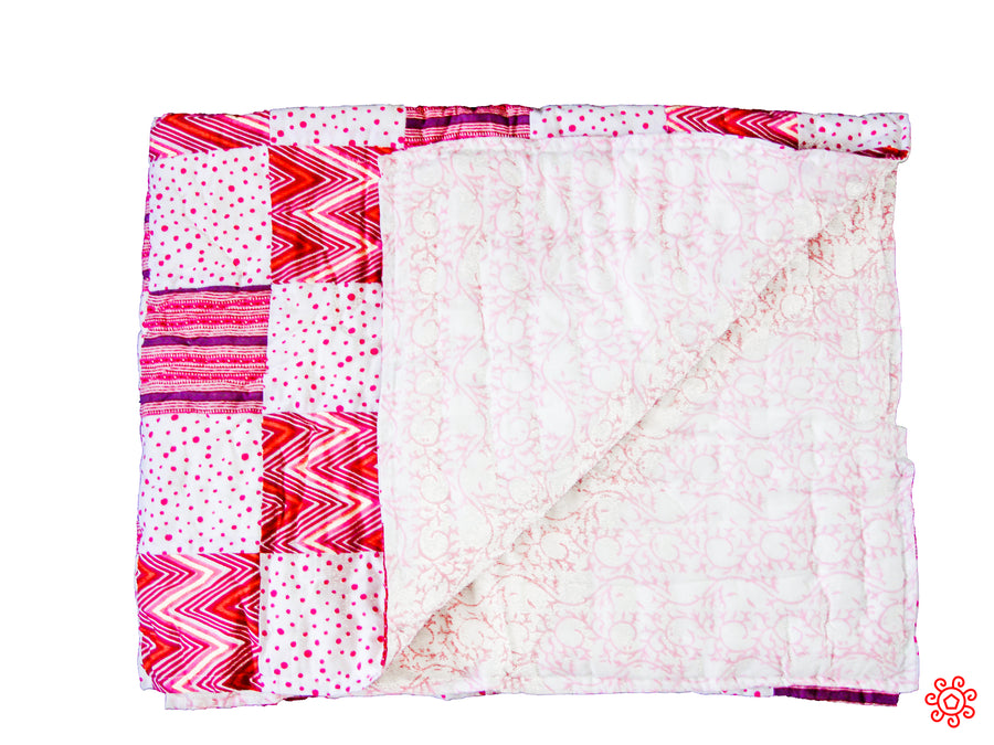 Handmade Patchwork Baby Quilt with Pillow Cover