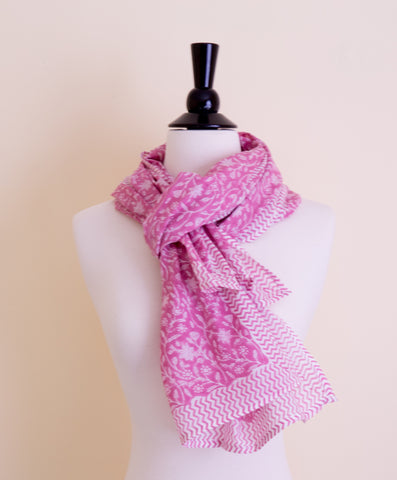 Handmade Block Printed Cotton Dark Pink Print Scarf - Pentagon Crafts