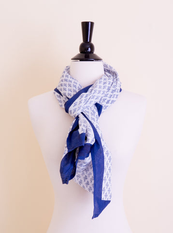 Handmade Block Printed Cotton Dark Blue Print Scarf - Pentagon Crafts