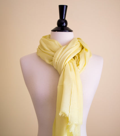 100% Delicate Handmade Cashmere Scarf - Pastel Yellow , Scarf - Pentagon Crafts, Pentagon Crafts  - 1