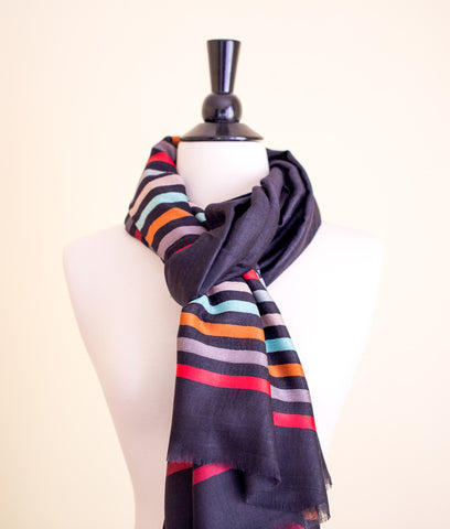 100% Delicate Handmade Cashmere Scarf - Black with multi colored stripes , Scarf - Pentagon Crafts, Pentagon Crafts  - 1