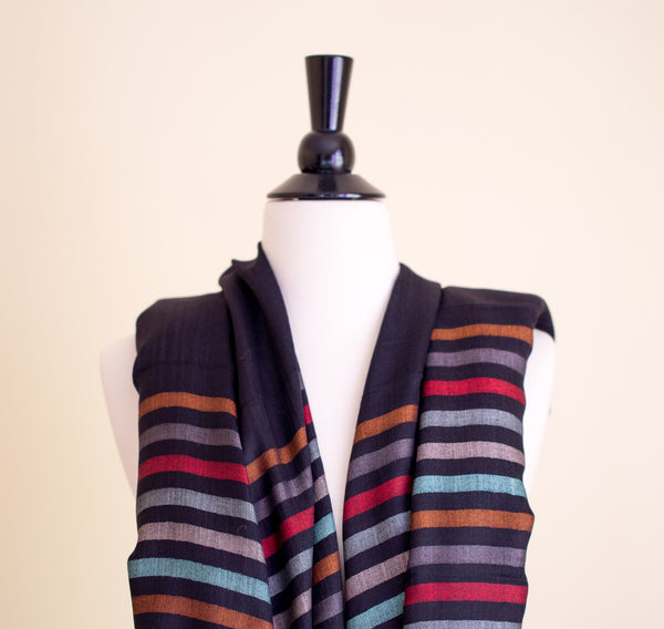 100% Delicate Handmade Cashmere Scarf - Black with multi colored stripes , Scarf - Pentagon Crafts, Pentagon Crafts  - 4