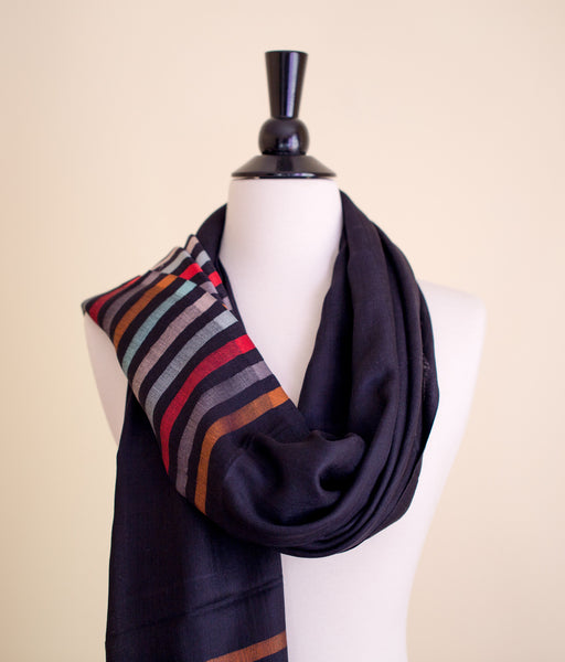 100% Delicate Handmade Cashmere Scarf - Black with multi colored stripes , Scarf - Pentagon Crafts, Pentagon Crafts  - 5