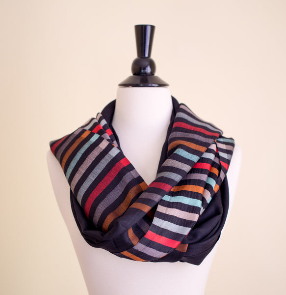 100% Delicate Handmade Cashmere Scarf - Black with multi colored stripes , Scarf - Pentagon Crafts, Pentagon Crafts  - 6