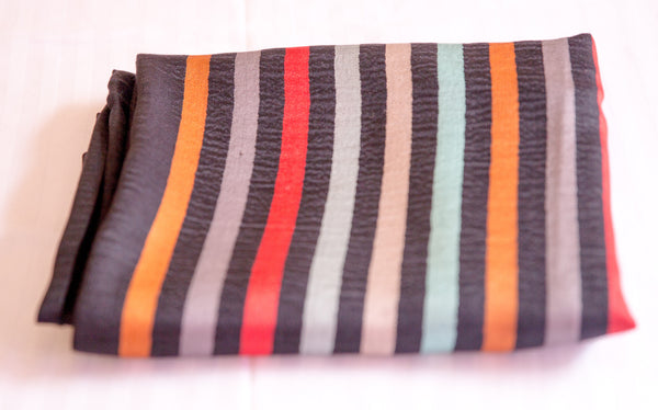 100% Delicate Handmade Cashmere Scarf - Black with multi colored stripes , Scarf - Pentagon Crafts, Pentagon Crafts  - 2