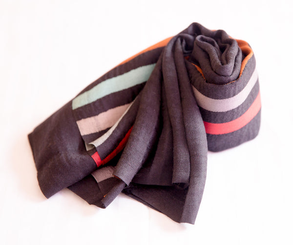 100% Delicate Handmade Cashmere Scarf - Black with multi colored stripes , Scarf - Pentagon Crafts, Pentagon Crafts  - 3