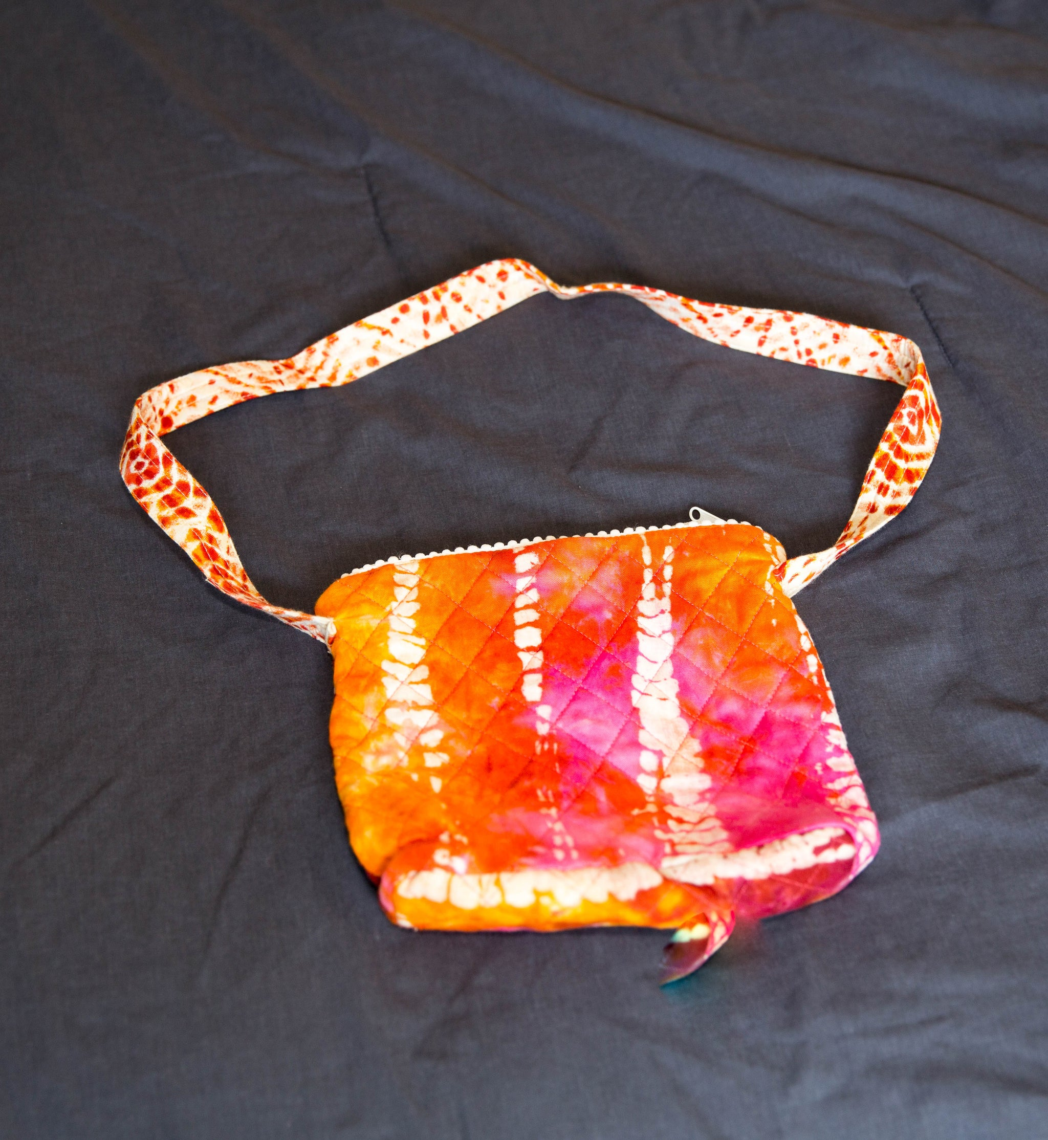 Tie Dye Sling bag - Brown Orange and Pink