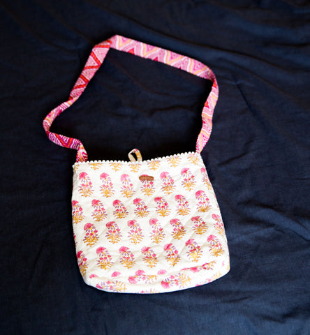 Handmade  Reversible Sling bag - Pink Flowers