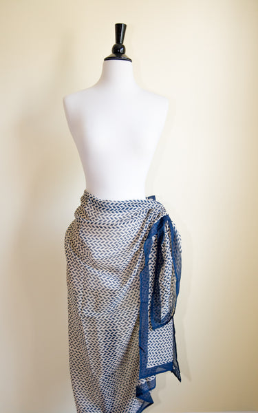 Blue Handmade Sarong on beige background