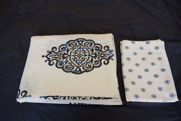 Handmade Block-Printed Bed Sheet with Pillowcases Offwhite color with designs - King Size