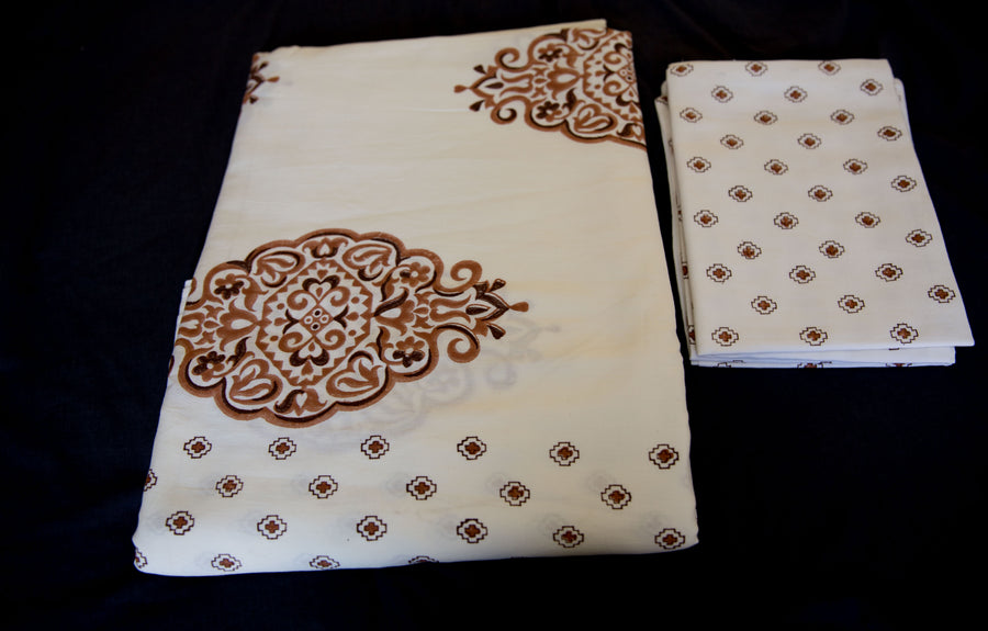 Handmade Block-Printed Bed Sheet with Pillowcases Off white color with designs - King Size