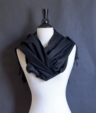 100% Delicate Handmade Cashmere Scarf  4ply - Black with frills