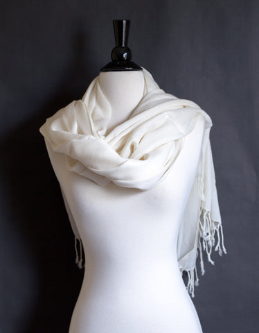 100% Delicate Handmade Cashmere Scarf  4ply - Off White with frills