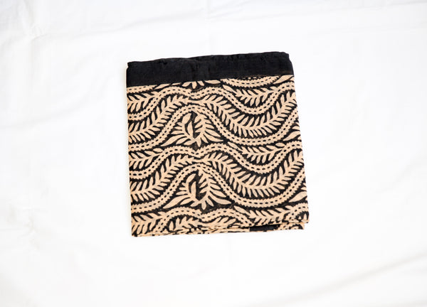 Delicate Cotton Black Prints on Beige background Handmade Sarong