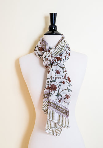Handmade Block Printed Cotton Scarf - Floral Red on Beige