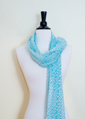 Handmade Block Printed Cotton Scarf - Geometric Aqua Prints