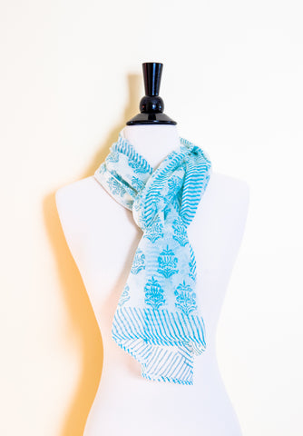 Handmade Block Printed Cotton Scarf - Floral Aqua Prints