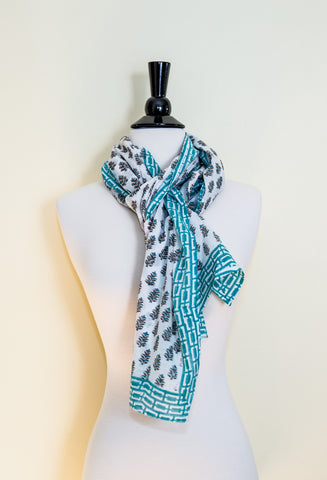 Handmade Block Printed Cotton Scarf - Green Floral Prints