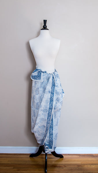 Delicate Cotton Blue with Paisley Design Handmade Sarong