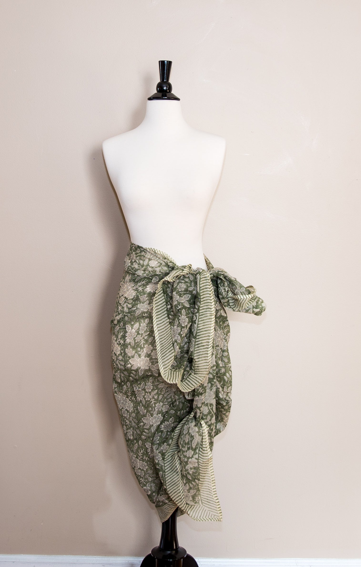 Delicate Cotton Faded  Green floral  Print Handmade Sarong