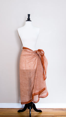 Delicate Orange Cotton Handmade Sarong
