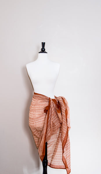 Delicate Cotton Orange Geometric Handmade Sarong