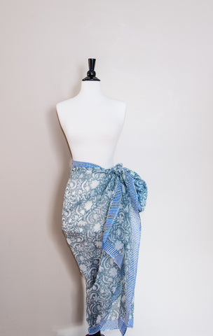 Delicate Cotton Faded Aqua Floral Design Handmade Sarong