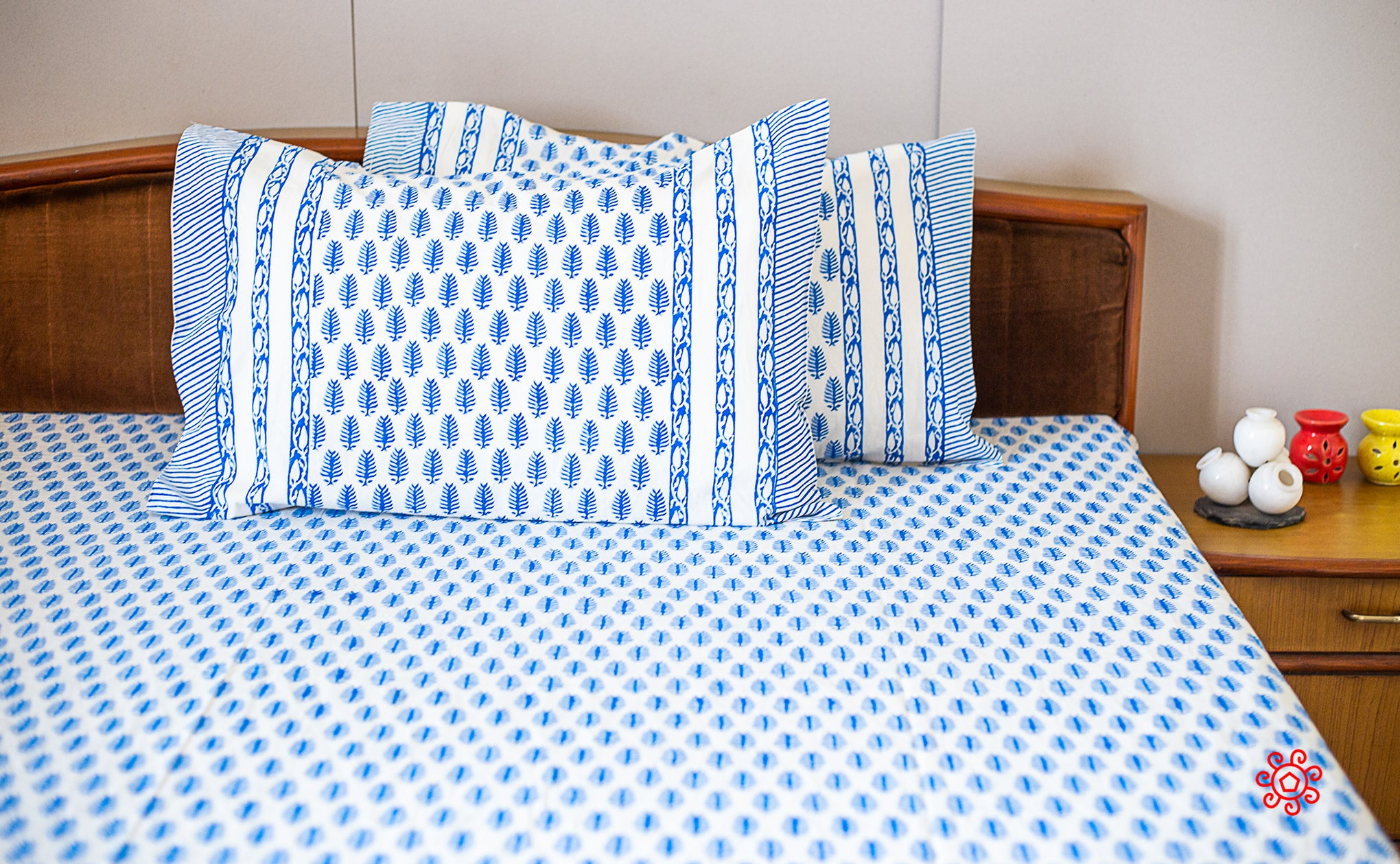 Roysha 2021 Bed Sheet/Flat Sheet/ Bed Linen - Queen Size, 100% Handmade, Hand Block Printed, Pure Cotton, Indigo collection, Room Decor