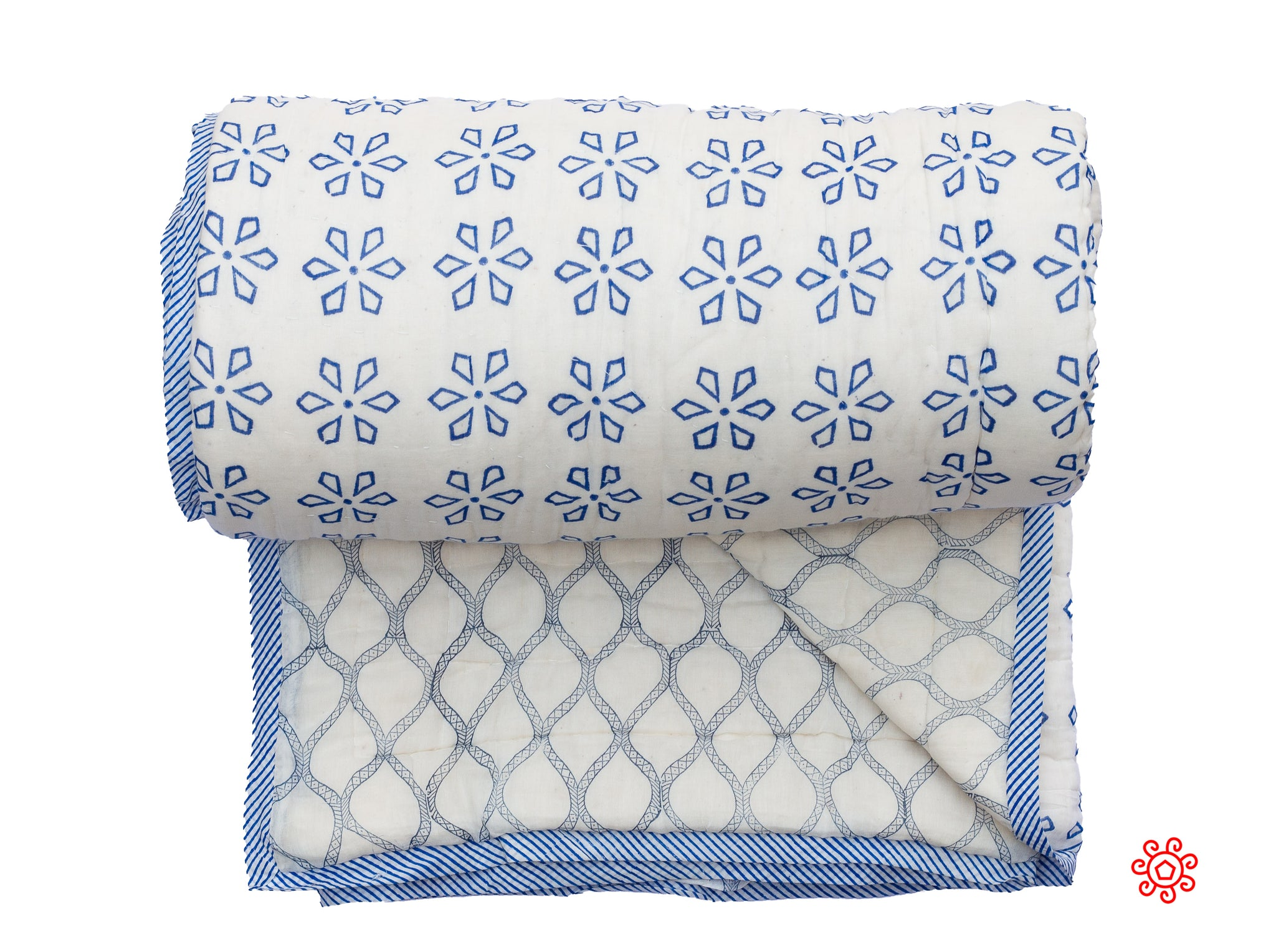 Handmade Block Printed Queen Quilt Blue and White - QBP 307