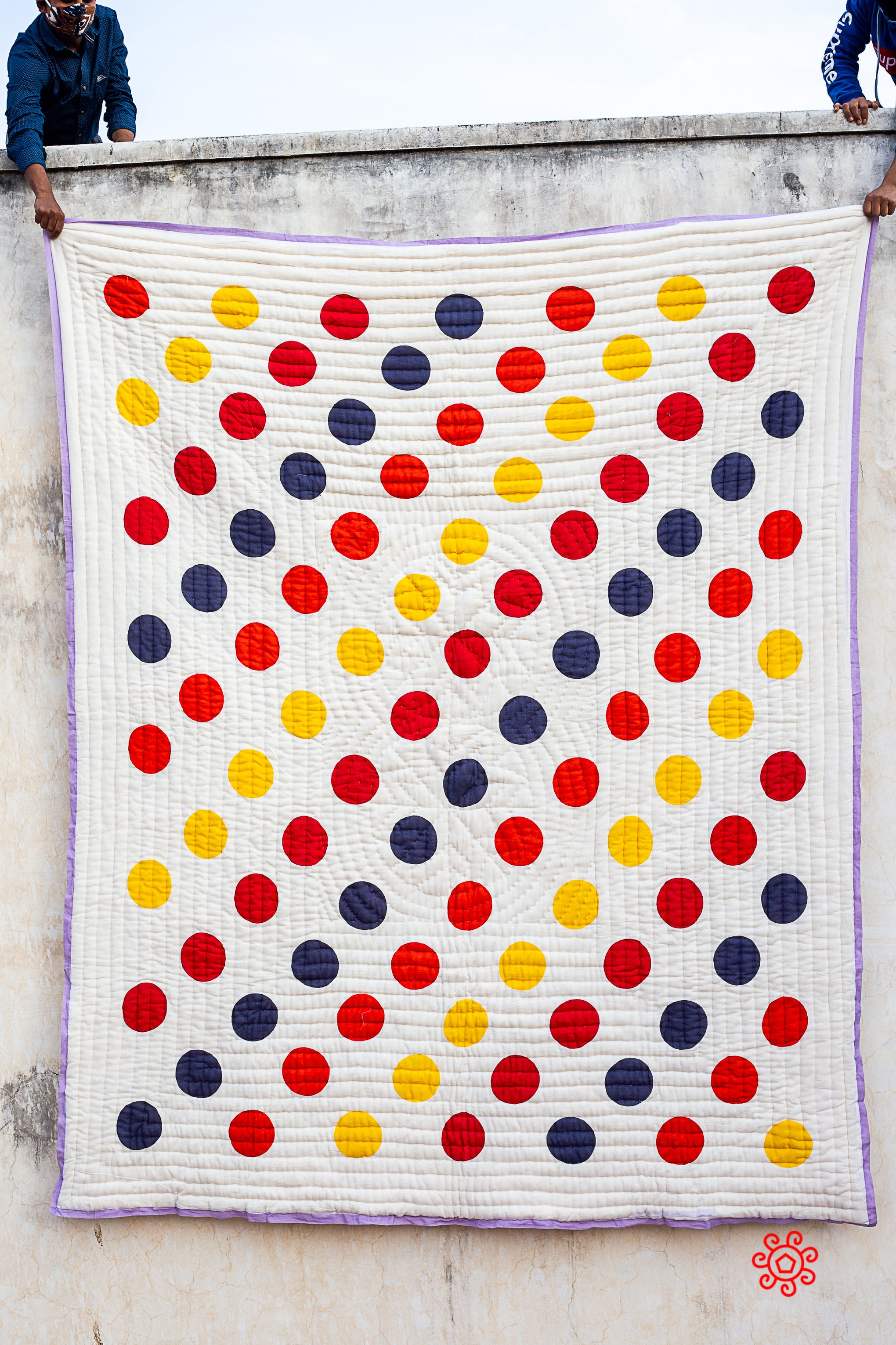 Queen Quilt,100 Percent Handmade, Hand Block printed Quilt, Jaipuri Quilt, Hand Quilted, Natural Cotton filling, Polka Dots QBP 401