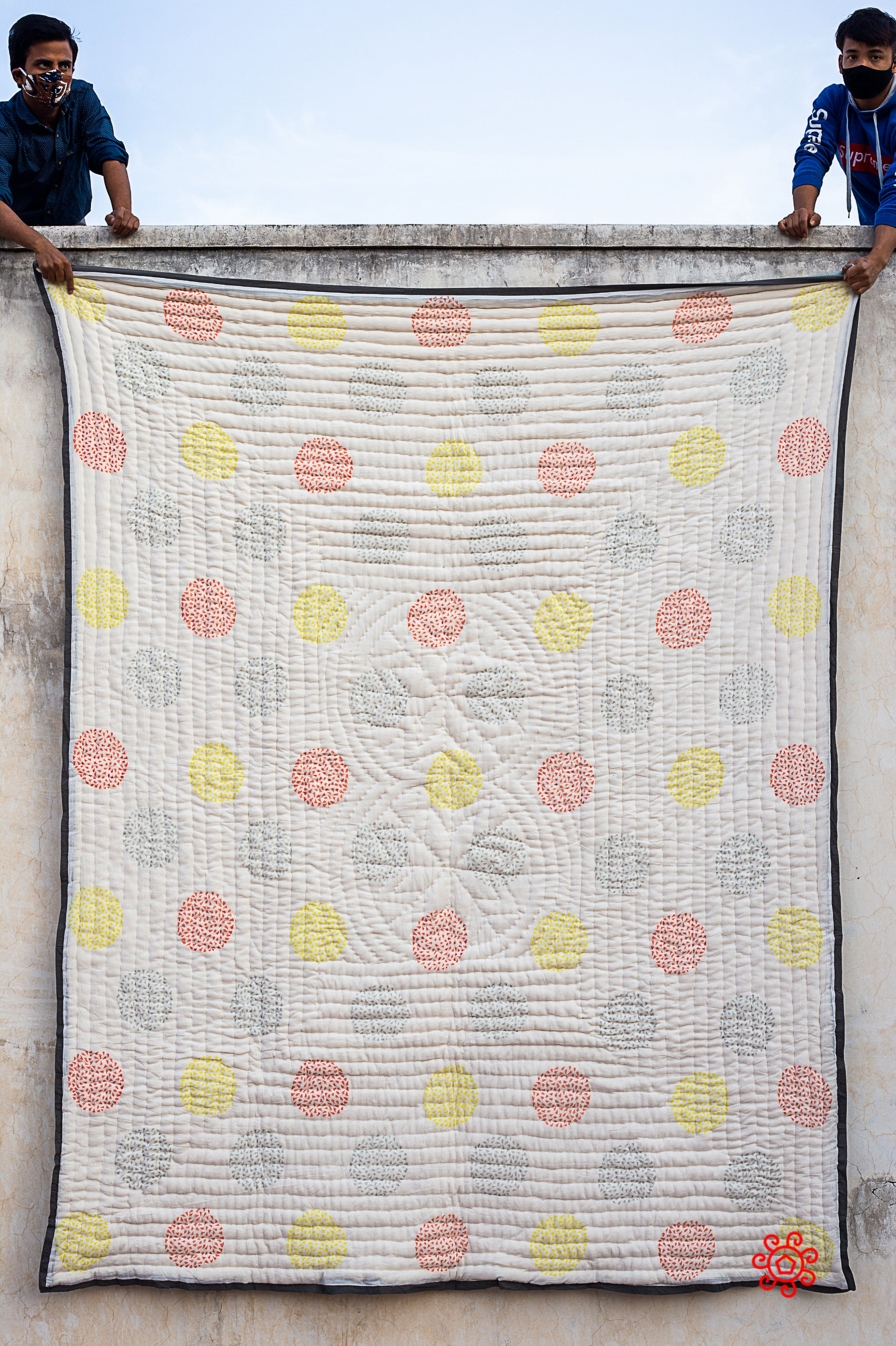 Queen Quilt,100 Percent Handmade, Hand Block printed Quilt, Jaipuri Quilt, Hand Quilted, Natural Cotton filling, Pastel colors QBP 403