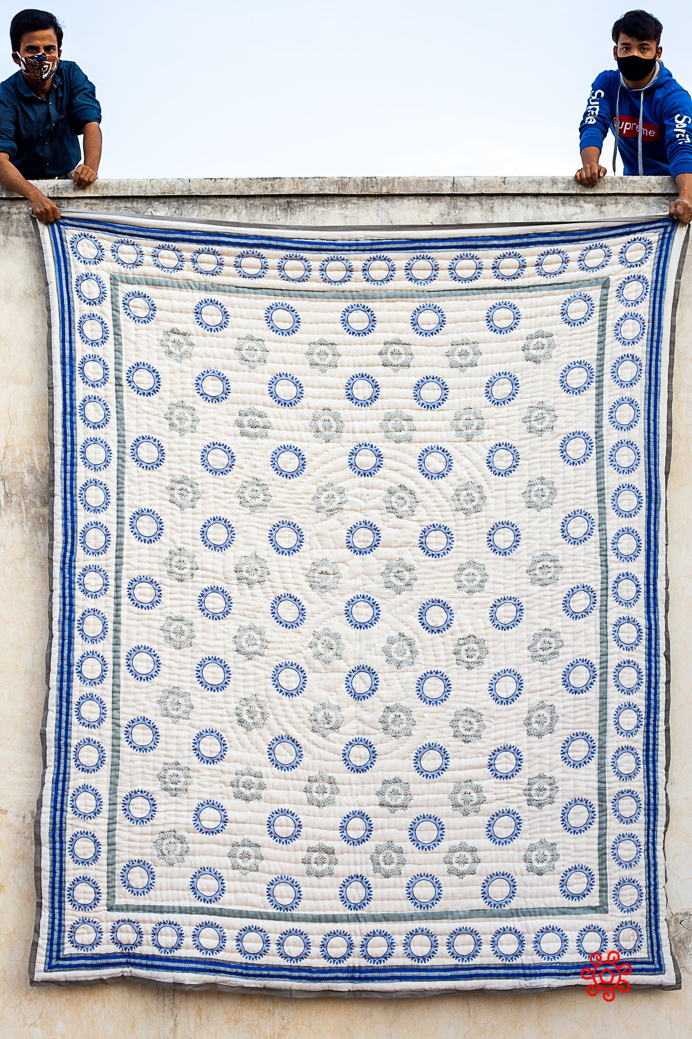 Queen Quilt,100 Percent Handmade, Hand Block printed Quilt, Jaipuri Quilt, Hand Quilted, Natural Cotton filling, Check Gray and Blue QBP 405