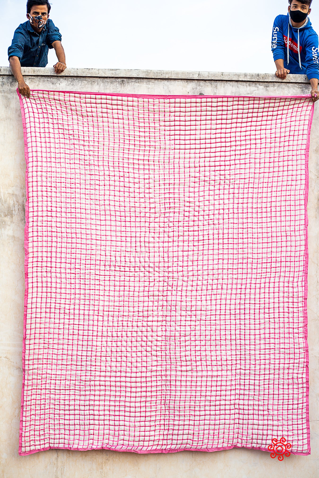 Queen Quilt,100 Percent Handmade, Hand Block printed Quilt, Jaipuri Quilt, Hand Quilted, Natural Cotton filling, Check Carnation Pink QBP 406