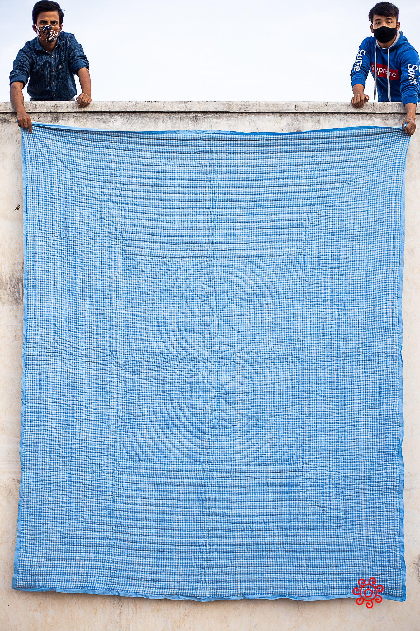Queen Quilt,100 Percent Handmade, Hand Block printed Quilt, Jaipuri Quilt, Hand Quilted, Natural Cotton filling, Check Rich Blue QBP 407