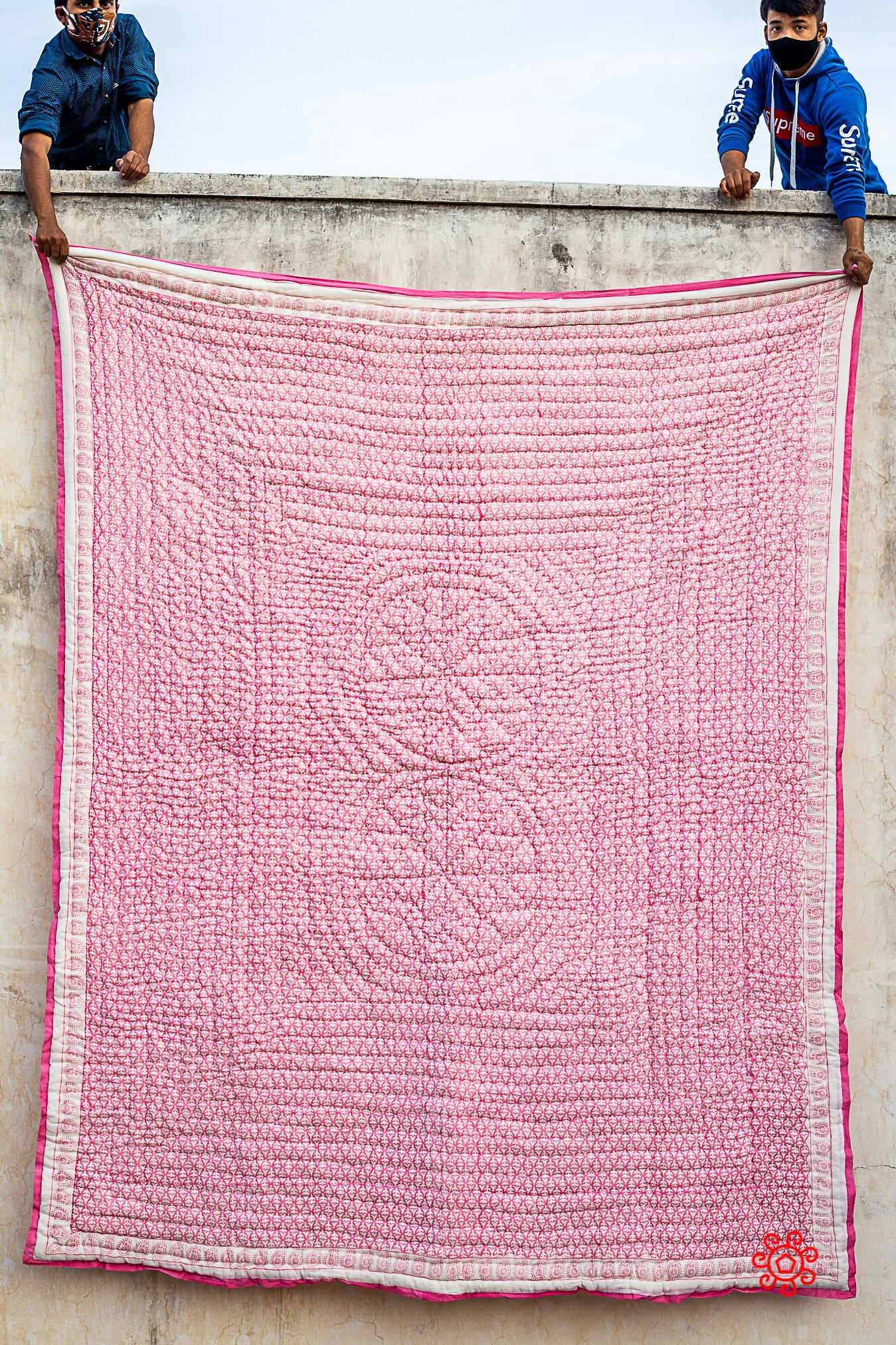 Queen Quilt,100 Percent Handmade, Hand Block printed Quilt, Jaipuri Quilt, Hand Quilted, Natural Cotton filling, Carnation Pink QBP 408