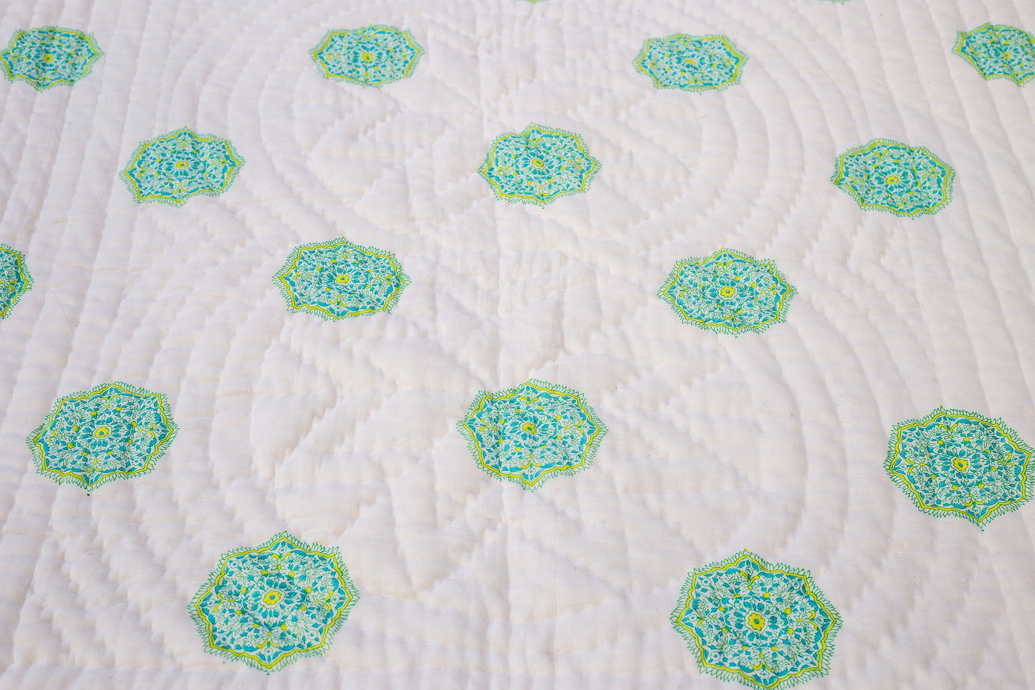 All New Roysha 2021 Queen Quilt Blue Pottery Collection,100 Percent Handmade, Hand Block printed Quilt,  Blue, Yellow & Green