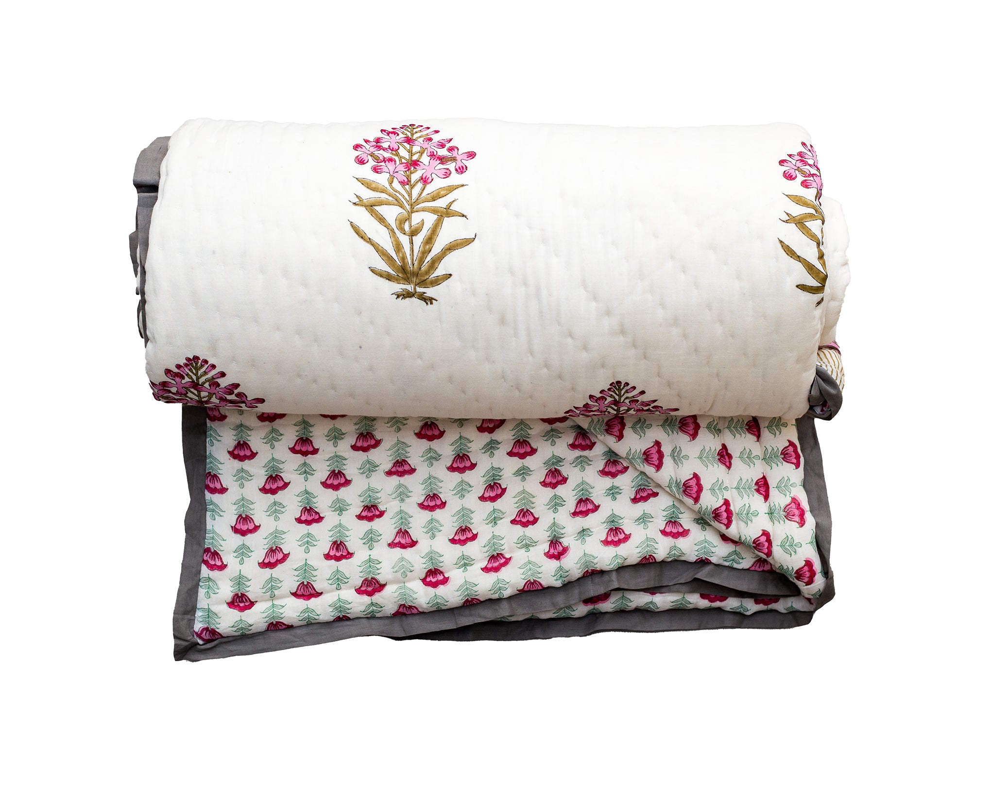 All New Roysha 2021 Queen Quilt Collection, 100 Percent Handmade, Hand Block printed Quilt, Natural Cotton filling, Pink Floral