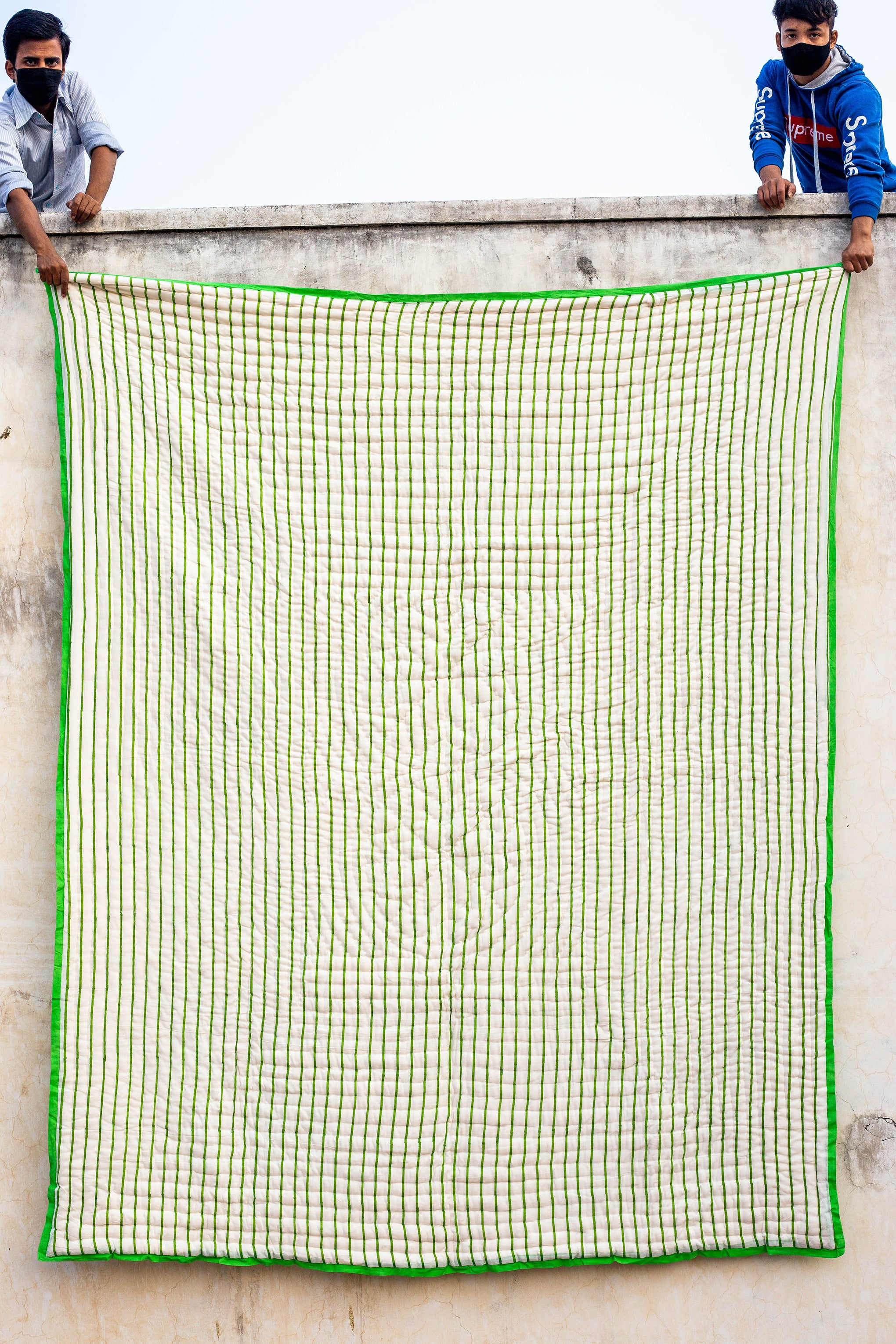 All New Roysha 2021 Queen Quilt Collection,100 Percent Handmade, Hand Block printed Quilt, Jaipuri Quilt, Hand Quilted, Green Checks