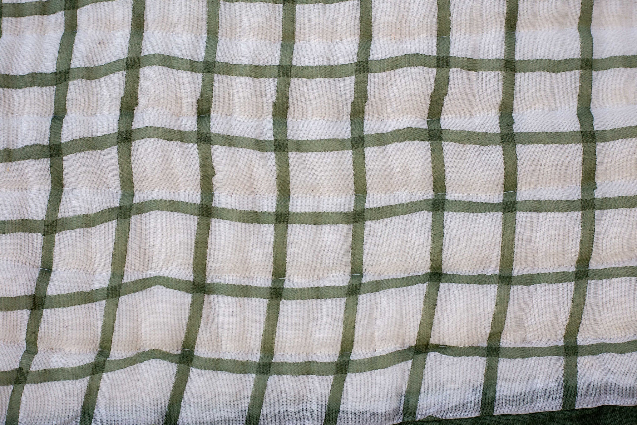 All New Roysha 2021 Queen Quilt Collection,100 Percent Handmade, Hand Block printed Quilt, Jaipuri Quilt, Hand Quilted, Olive Green Checks