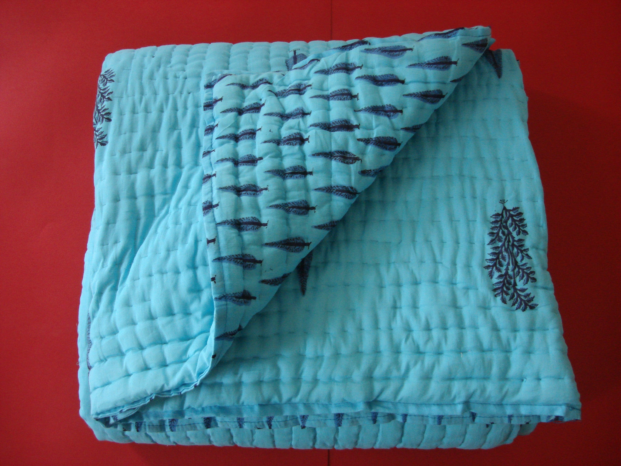 QBP 106 - Handmade, reversible, cotton, block printed quilt in turquoise blue - Pentagon Crafts