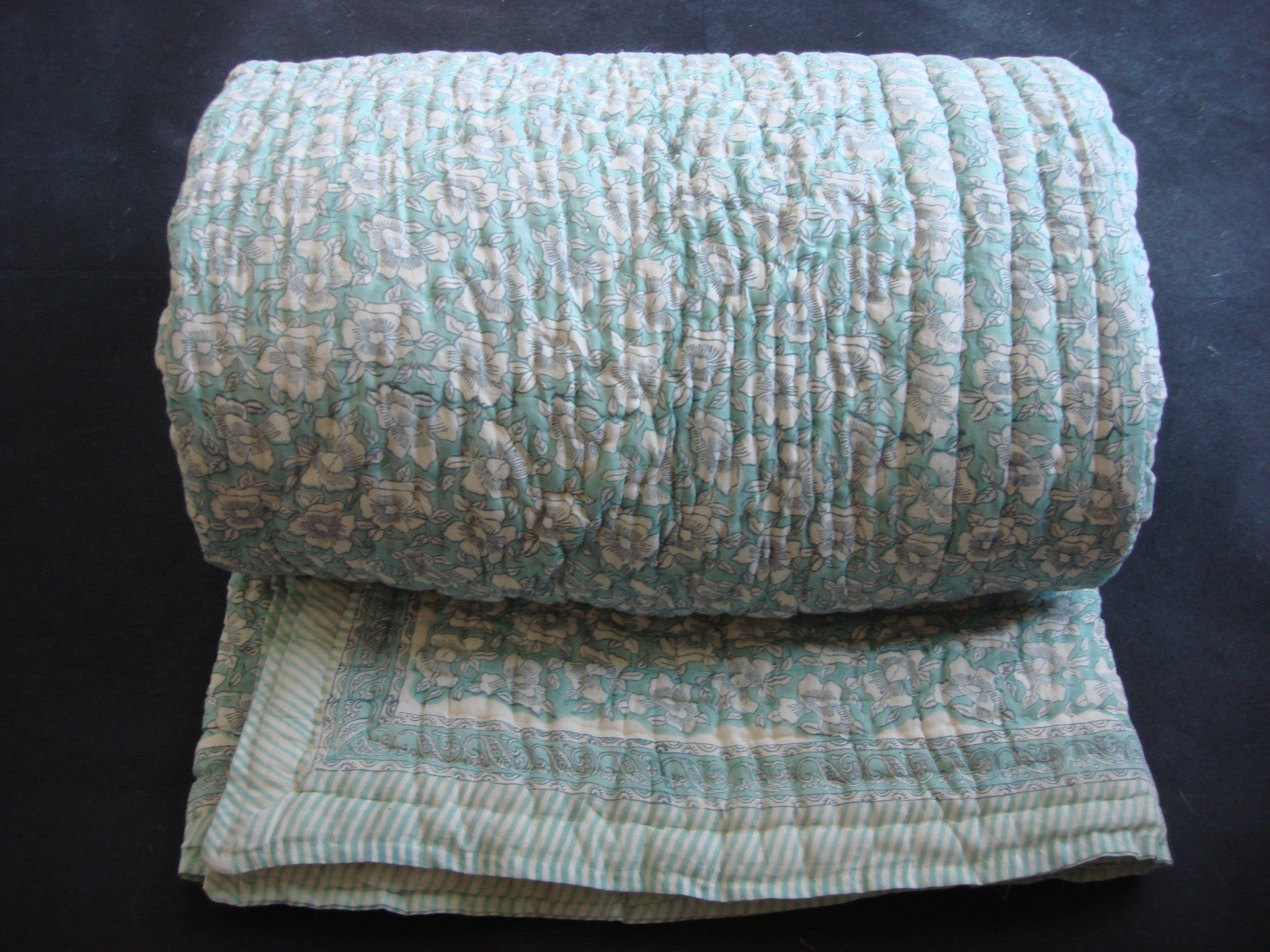 QBP 108 - Handmade, reversible, cotton, block printed quilt in sea green, intricate ethnic design. - Pentagon Crafts