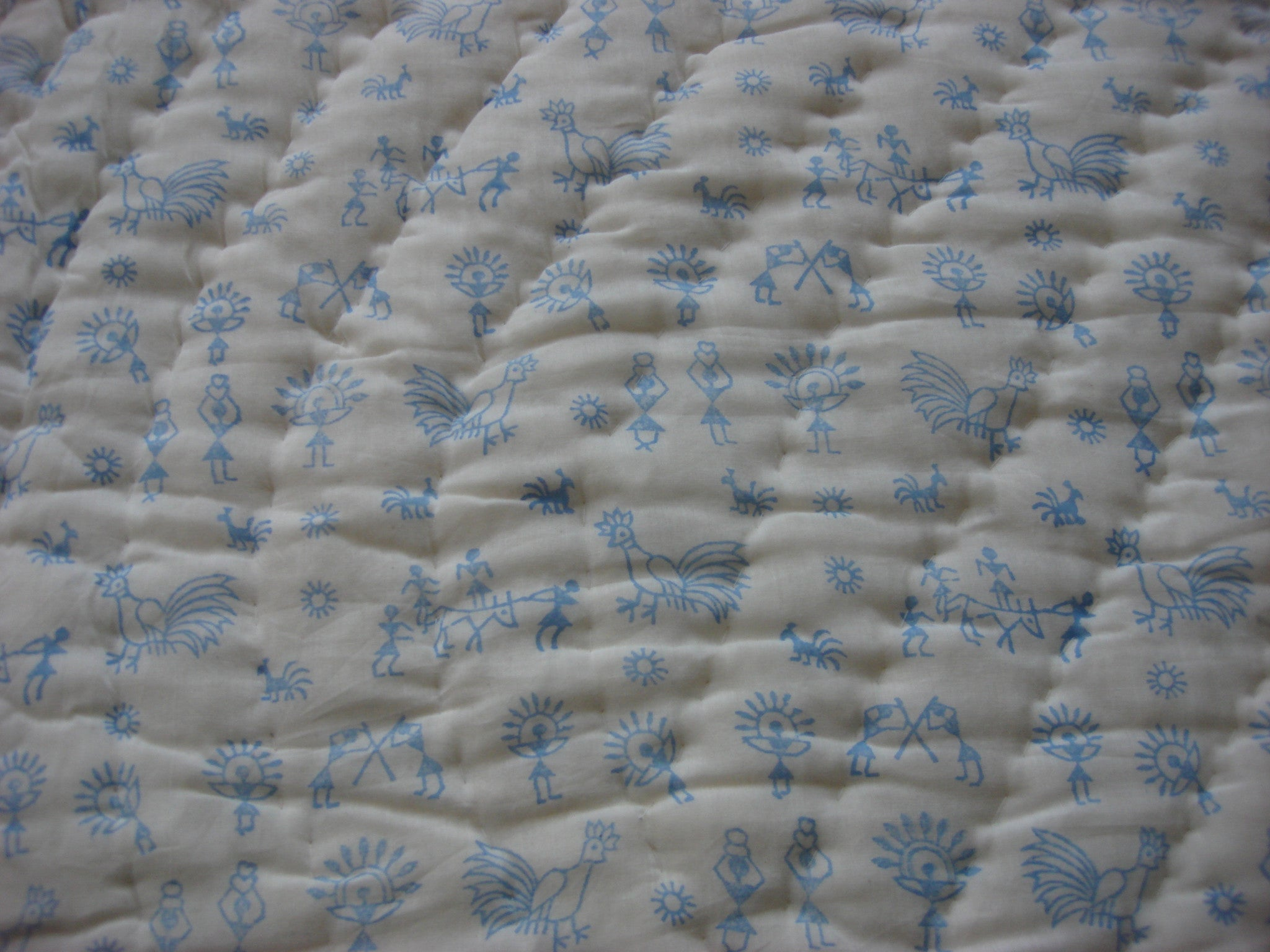 QBP 111 - Handmade, reversible, cotton, block printed quilt in ocean blue, Egyptian design - Pentagon Crafts
