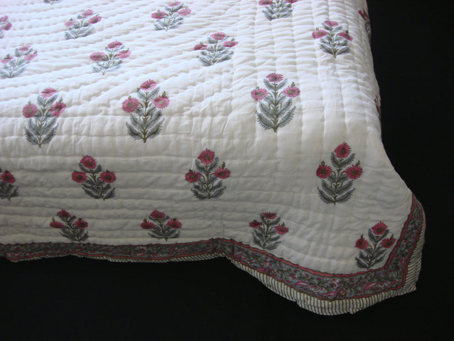 QBP 117 - Handmade, reversible, cotton, block printed quilt in bright pink floral design - Pentagon Crafts