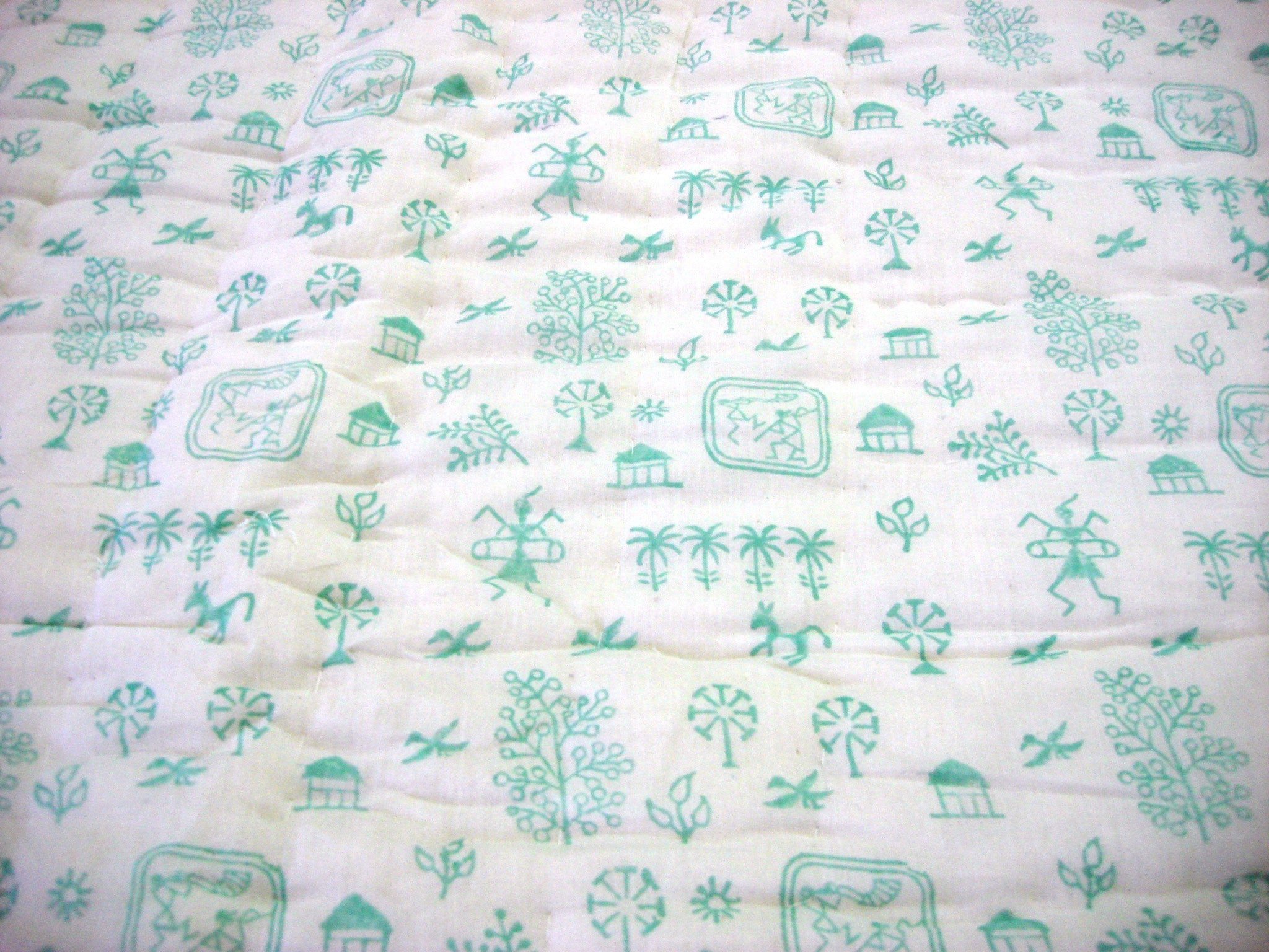 100% Handmade Cotton Queen Quilt - Pastel Green - Pentagon Crafts