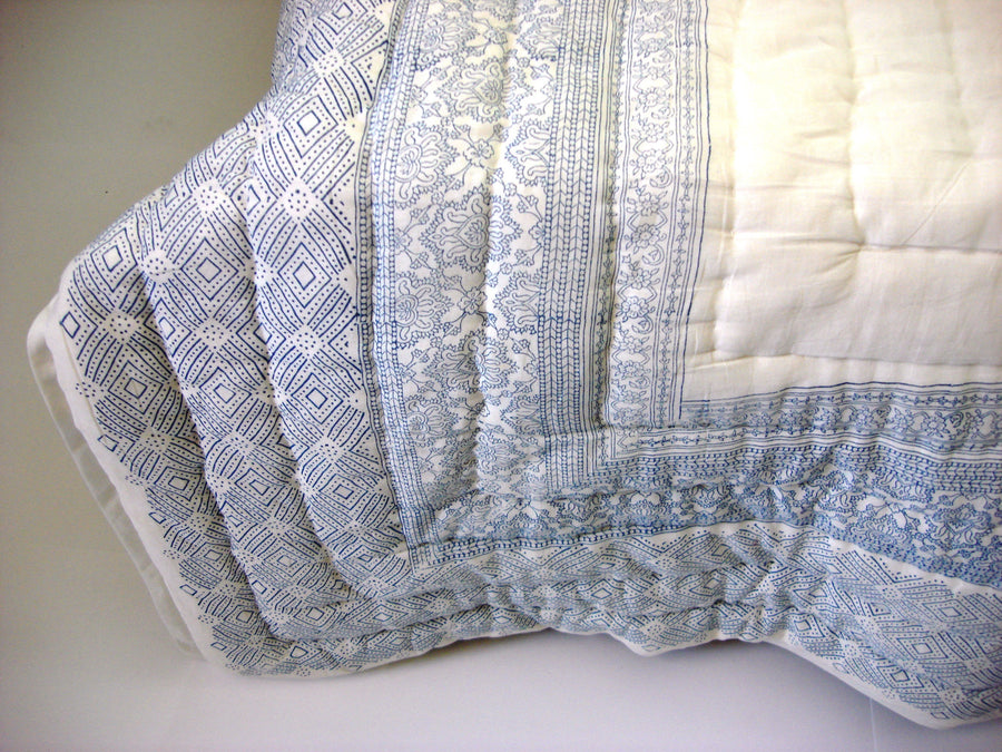 100% Handmade Cotton Quilt - Sea Blue - Pentagon Crafts