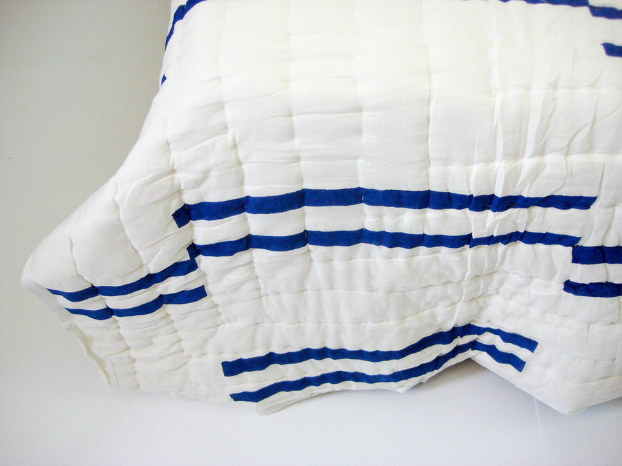 100% Handmade Cotton Quilt - Blue Stripes - Pentagon Crafts