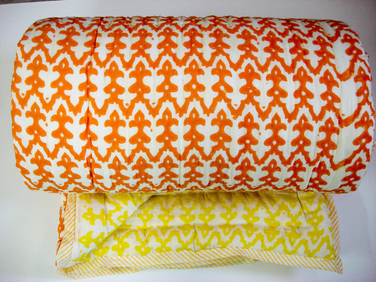 QBP-150 100% Handmade Cotton Quilt - Yellow and Orange prints , Quilts - Pentagon Crafts, Pentagon Crafts  - 1